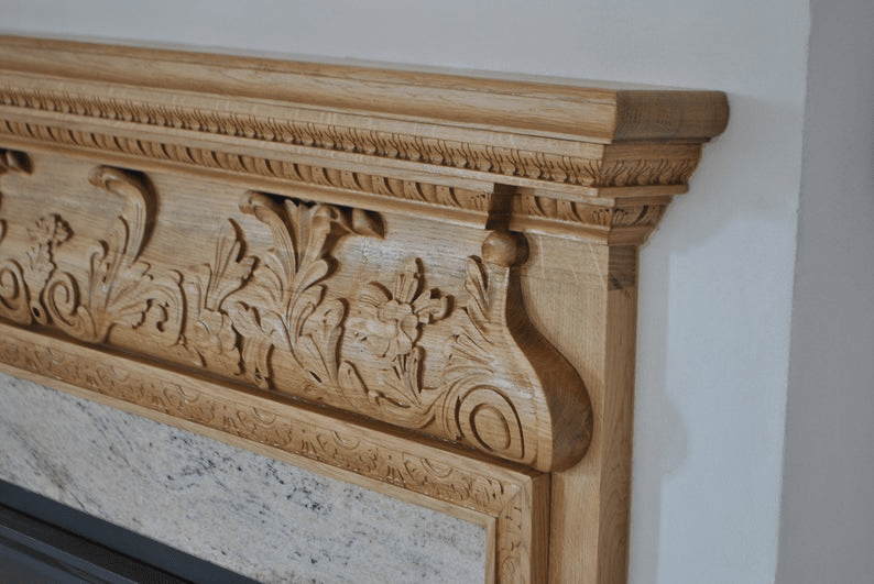Beautiful Mantel Carved from Oak