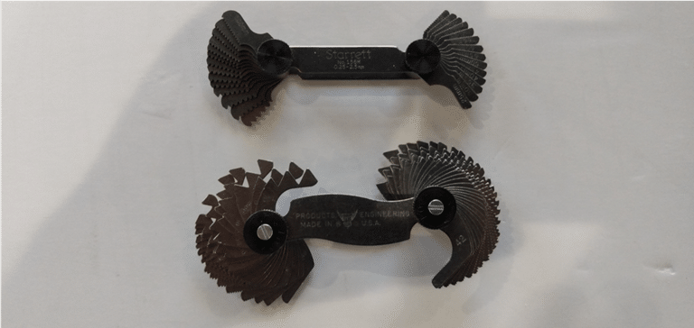 Original photo of a pair of thread gauge sets.  One SAE (also called Imperial) and one ISO (Also called Metric)