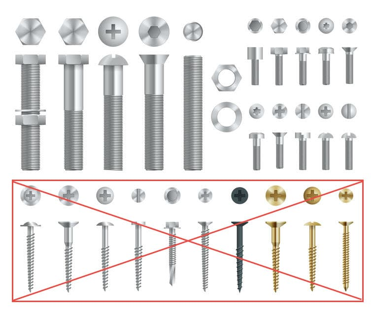 Stock Image of Machine Bolts compared to wood screws.