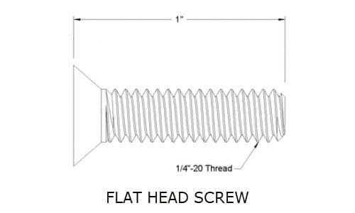 Image from McMaster-Carr showing Flat Head Screw length